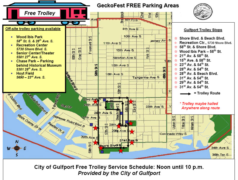 Gulfport Geckofest Free Parking and Troller Map