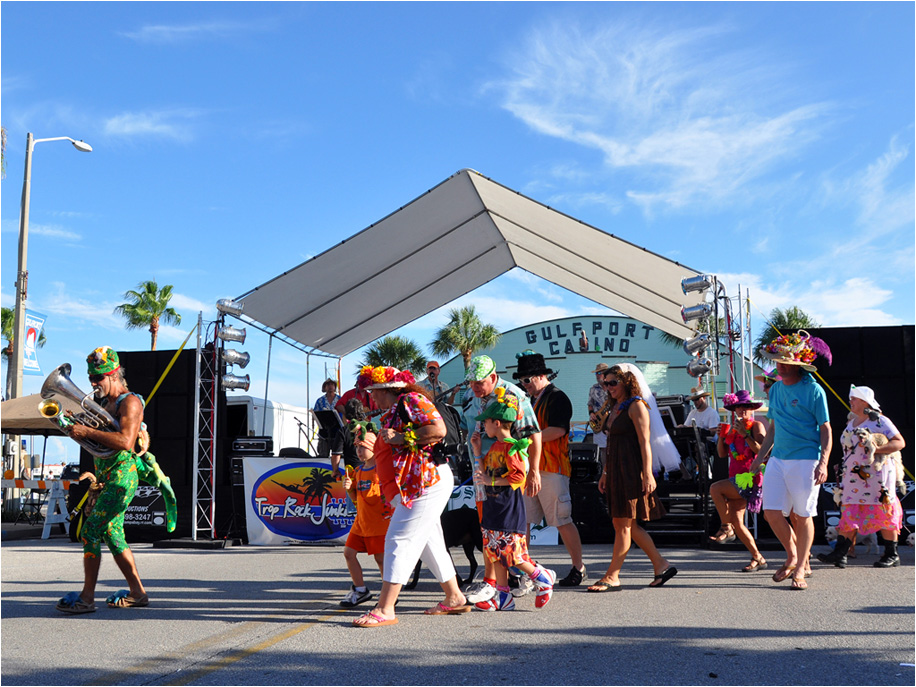 The day culminates in Gulfport's famous -STREET DANCE at 8:00 pm! Bring your dancing shoes, and celebrate our 11th Anniversary!